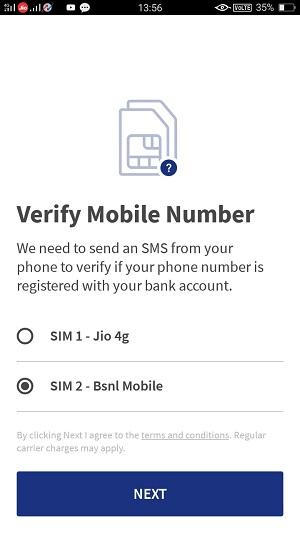 bhim app verify mobile