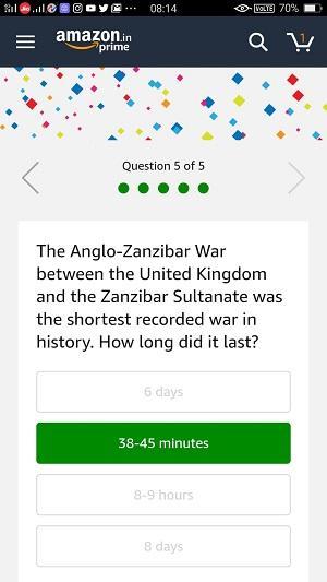 14 Jan Amazon Quiz Answer 5