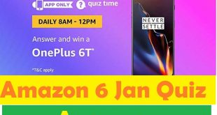 Amazon Quiz 6T Quiz 6 Jan