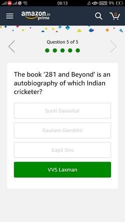Amazon Quiz 6T Quiz 6 Jan Answer 5