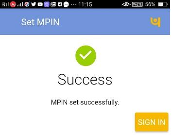 pnb one app new mpin set sucessfully